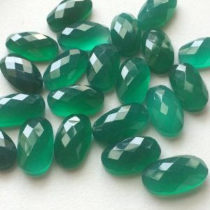 Shop Onyx Cabochons! 5 Pcs Green Onyx Rose Cut Cabochons, Faceted Oval Flat Back Green Onyx Cabochons, Calibrated 10x18mm – KRS263 | Natural genuine gemstones & crystals in various shapes & sizes. Buy raw cut, tumbled, or polished for making jewelry or crystal healing energy reiki stones. #crystals #gemstones #crystalhealing #crystalsandgemstones #energyhealing #affiliate