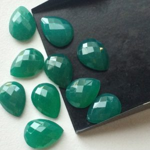 Shop Onyx Cabochons! Green Onyx – Onyx Cabochons, Faceted Pear Cabochons, Rose Cut Green Onyx, Green Onyx Pear Gems, Calibrated 14x10mm Each, Green | Natural genuine gemstones & crystals in various shapes & sizes. Buy raw cut, tumbled, or polished for making jewelry or crystal healing energy reiki stones. #crystals #gemstones #crystalhealing #crystalsandgemstones #energyhealing #affiliate