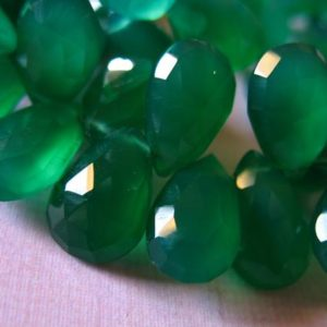 GREEN Chalcedony Pear Briolettes Beads / 2-20 pcs, Luxe AAA, 10-12 mm, green onyx emerald green may birthstone holidays 1012 solo | Natural genuine other-shape Onyx beads for beading and jewelry making.  #jewelry #beads #beadedjewelry #diyjewelry #jewelrymaking #beadstore #beading #affiliate #ad
