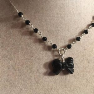 Shop Onyx Pendants! Black Necklace – Onyx Gemstone Jewelery – Bow Pendant – Sterling Silver Jewellery – Dainty | Natural genuine Onyx pendants. Buy crystal jewelry, handmade handcrafted artisan jewelry for women.  Unique handmade gift ideas. #jewelry #beadedpendants #beadedjewelry #gift #shopping #handmadejewelry #fashion #style #product #pendants #affiliate #ad