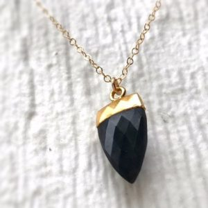 Shop Onyx Pendants! Black Necklace – Onyx Spike Pendant – Gold Chain Jewelry – Gemstone Jewellery – Drop – | Natural genuine Onyx pendants. Buy crystal jewelry, handmade handcrafted artisan jewelry for women.  Unique handmade gift ideas. #jewelry #beadedpendants #beadedjewelry #gift #shopping #handmadejewelry #fashion #style #product #pendants #affiliate #ad
