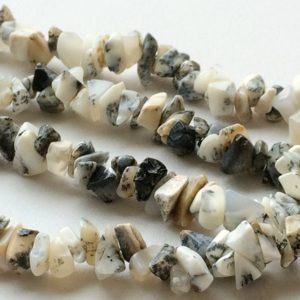 Shop Opal Chip & Nugget Beads! Dendrite Opal Chips, Dendrite Opal Beads, White & Black Beads, Dendrite Opal Necklace, 6-8mm, 32 Inch Strand, Wholesale Price | Natural genuine chip Opal beads for beading and jewelry making.  #jewelry #beads #beadedjewelry #diyjewelry #jewelrymaking #beadstore #beading #affiliate #ad
