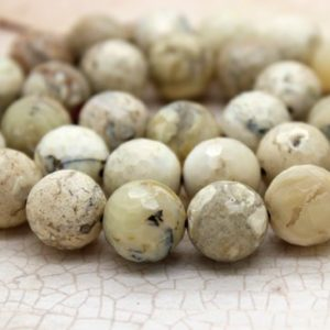 Shop Opal Beads! Africa White Opal Faceted Round Gemstone Beads (4mm 6mm 8mm 10mm 12mm) | Natural genuine beads Opal beads for beading and jewelry making.  #jewelry #beads #beadedjewelry #diyjewelry #jewelrymaking #beadstore #beading #affiliate #ad