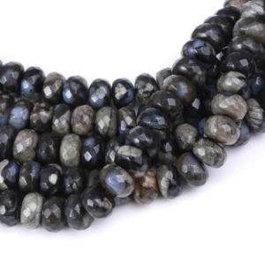 "Shop Opal Beads! Natural Gray Opal Faceted Rondelle Beads 4x6mm 5x8mm 15.5"" Strand 