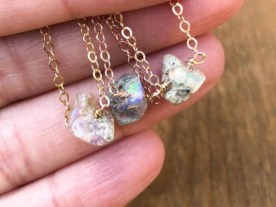 Raw Opal Necklace - Raw Opal Jewelry - Raw Stone Necklace - Libra Gift - October Birthstone Necklace - Libra Healing Necklace - Gift For Her