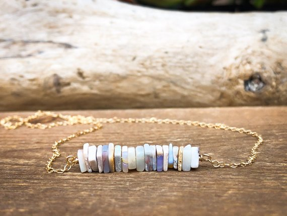 Raw Opal Necklace - October Birthstone Necklace - Libra Birthday Necklace - Raw Opal Jewelry - Libra Gift For Her - Raw Stone Necklace