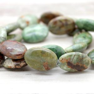 Shop Opal Bead Shapes! Green Opal Flat Oval Gemstone Beads | Natural genuine other-shape Opal beads for beading and jewelry making.  #jewelry #beads #beadedjewelry #diyjewelry #jewelrymaking #beadstore #beading #affiliate