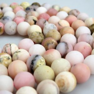 "Shop Opal Round Beads! Matte Pink Opal Round Loose Bead Size 6mm/8mm/10mm/12mm 15.5"" Per Strand.R-M-OPA-0325 