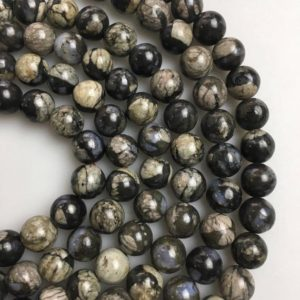 "Shop Opal Beads! African Gray Opal Smooth Round Beads 6mm 8mm 10mm 12mm 15.5"" Strand 