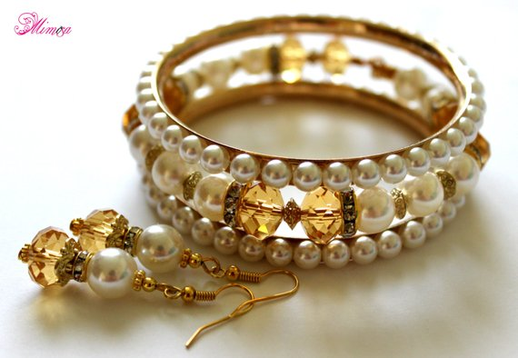 Pearl Jewelry Set, Crystal Jewelry Set, Stacking Bangles, Pearl Cuff, Bridal Pearls, Gold Crystal Cuff, Bridal Pearl Bangles, Stacking Cuff