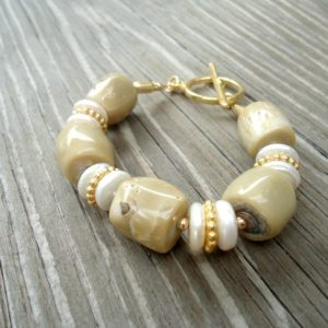Tan Coral Bracelet –  White Pearl Gemstone Jewellery – Gold Jewelry – Beaded – Unique – Chunky – Classic B-275 | Natural genuine Gemstone bracelets. Buy crystal jewelry, handmade handcrafted artisan jewelry for women.  Unique handmade gift ideas. #jewelry #beadedbracelets #beadedjewelry #gift #shopping #handmadejewelry #fashion #style #product #bracelets #affiliate #ad