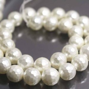 Shop Pearl Faceted Beads! 128 Faceted South Sea Shell Pearl Smooth and Round Beads,6mm/8mm/10mm/12mm Faceted Beads Supply,15 inches one starand | Natural genuine faceted Pearl beads for beading and jewelry making.  #jewelry #beads #beadedjewelry #diyjewelry #jewelrymaking #beadstore #beading #affiliate #ad