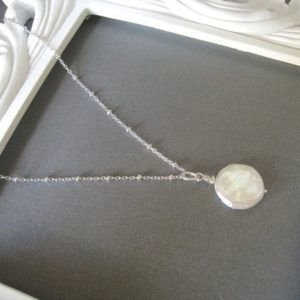 Shop Pearl Necklaces! Pearl Necklace, Coin Pearl Necklace, Sterling Pearl Satellite Necklace, Everyday Necklace, Sterling Silver Satellite Chain | Natural genuine Pearl necklaces. Buy crystal jewelry, handmade handcrafted artisan jewelry for women.  Unique handmade gift ideas. #jewelry #beadednecklaces #beadedjewelry #gift #shopping #handmadejewelry #fashion #style #product #necklaces #affiliate #ad