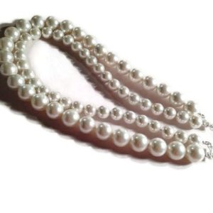 Shop Pearl Necklaces! Pearl Necklace – Sterling Silver Jewellery – White Wedding Jewelry – Bride – Chunky – Extender Chain | Natural genuine Pearl necklaces. Buy handcrafted artisan wedding jewelry.  Unique handmade bridal jewelry gift ideas. #jewelry #beadednecklaces #gift #crystaljewelry #shopping #handmadejewelry #wedding #bridal #necklaces #affiliate #ad
