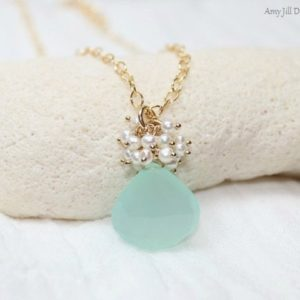 Aqua Chalcedony Necklace, Freshwater Pearl Cluster, Cluster Pendant, Aqua Chalcedony Jewelry, Gold Filled, Sea Green Gemstone Jewelry | Natural genuine Pearl pendants. Buy crystal jewelry, handmade handcrafted artisan jewelry for women.  Unique handmade gift ideas. #jewelry #beadedpendants #beadedjewelry #gift #shopping #handmadejewelry #fashion #style #product #pendants #affiliate #ad