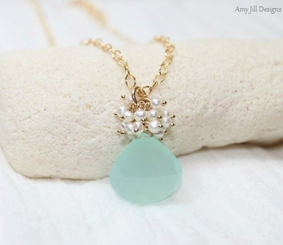 Aqua Chalcedony Necklace, Freshwater Pearl Cluster, Cluster Pendant, Aqua Chalcedony Jewelry, Gold Filled, Sea Green Gemstone Jewelry