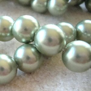 Shop Pearl Round Beads! Shell Pearl Beads 12mm Lustrous Sage Green Smooth Rounds  – 8 Pieces | Natural genuine round Pearl beads for beading and jewelry making.  #jewelry #beads #beadedjewelry #diyjewelry #jewelrymaking #beadstore #beading #affiliate