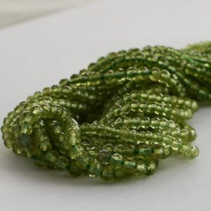"Shop Peridot Faceted Beads! High Quality Grade A Natural Peridot Semi-precious Gemstone – Faceted – Rondelle Spacer Beads – 3mm, 4mm Sizes – 15.5"" Strand 