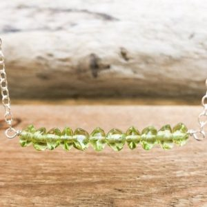 Shop Peridot Necklaces! Peridot Bar Necklace – Peridot Jewelry – August Birthstone Gift For Her – Leo Zodiac Necklace – Peridot Necklace – Birthstone Necklace | Natural genuine Peridot necklaces. Buy crystal jewelry, handmade handcrafted artisan jewelry for women.  Unique handmade gift ideas. #jewelry #beadednecklaces #beadedjewelry #gift #shopping #handmadejewelry #fashion #style #product #necklaces #affiliate #ad