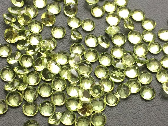 4mm Peridot Round Cut Stone Lot, Pointed Back Round Faceted Peridot, Loose Peridot Gemstones For Jewelry (5ctw To 25ctw Options) - Ksn200