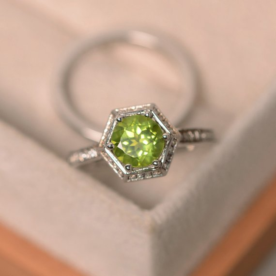 Green Peridot Ring, August Birthstone Ring, Gemstone Silver, Stacking Ring, Engagement Ring