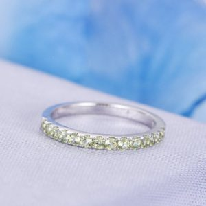 Half Eternity Ring Peridot Ring 14k White Gold Wedding Band Stacking Matching Band 2mm Round Cut Natural Peridots Personalized For Her | Natural genuine Gemstone rings, simple unique alternative gemstone engagement rings. #rings #jewelry #bridal #wedding #jewelryaccessories #engagementrings #weddingideas #affiliate #ad