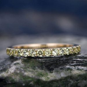 Shop Peridot Rings! Natural Peridot Wedding Ring-solid 14k Rose Gold-handmade Fine Ring-half Eternity Band-2mm Matching Band-birthstone Promise Ring | Natural genuine Peridot rings, simple unique alternative gemstone engagement rings. #rings #jewelry #bridal #wedding #jewelryaccessories #engagementrings #weddingideas #affiliate #ad
