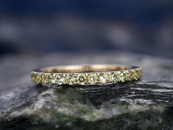 Natural Peridot Wedding Ring-solid 14k Rose Gold-handmade Fine Ring-half Eternity Band-2mm Matching Band-birthstone Promise Ring