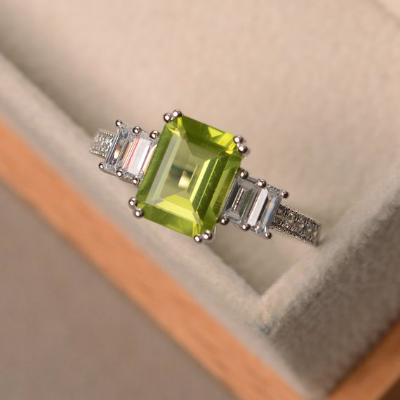 Peridot Ring, Promise Ring, August Birthstone, Emerald Cut Ring
