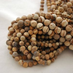 "Shop Picture Jasper Round Beads! High Quality Grade A Natural Picture Jasper Semi-precious Gemstone Frosted / Matt Round Beads – 4mm, 6mm, 8mm, 10mm Sizes – 16"" Strand 