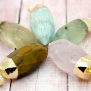 Shop Prehnite Bead Shapes! Prehnite Stone Point Spike Gold Plated Edge Pendant Charms | Natural genuine other-shape Prehnite beads for beading and jewelry making.  #jewelry #beads #beadedjewelry #diyjewelry #jewelrymaking #beadstore #beading #affiliate #ad