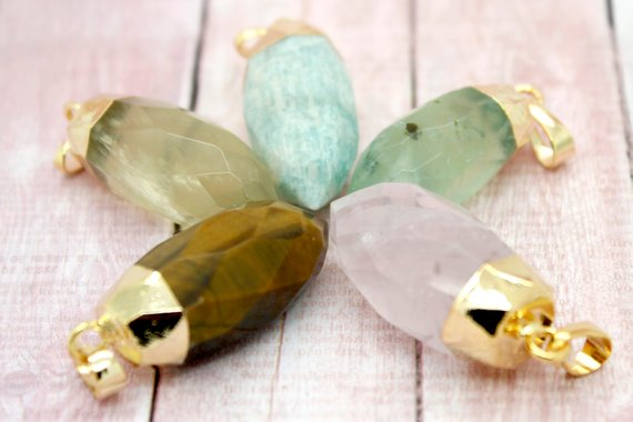Prehnite Stone Point Spike Gold Plated Edge Pendant Charms