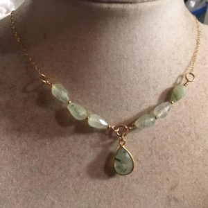 Shop Prehnite Pendants! Prehnite Necklace – Green Gemstone Jewellery – Gold Chain Jewelry – Pendant | Natural genuine Prehnite pendants. Buy crystal jewelry, handmade handcrafted artisan jewelry for women.  Unique handmade gift ideas. #jewelry #beadedpendants #beadedjewelry #gift #shopping #handmadejewelry #fashion #style #product #pendants #affiliate #ad