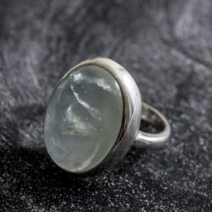 Shop Prehnite Rings! Prehnite Ring, Natural Prehnite, May Birthstone Ring, Healing Stones, Green Ring, Vintage Rings, Green Stone, Huge Stone, Solid Silver Ring | Natural genuine Prehnite rings, simple unique handcrafted gemstone rings. #rings #jewelry #shopping #gift #handmade #fashion #style #affiliate #ad