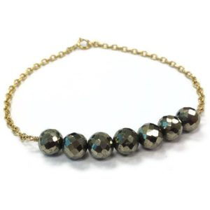 Shop Pyrite Bracelets! Pyrite Bracelet – Bead Bar Jewelry – Yellow Gold Jewelry – Chain Everyday Modern Skinny Layer Stack Bead Bar Fools Gold Mixed Metal | Natural genuine Pyrite bracelets. Buy crystal jewelry, handmade handcrafted artisan jewelry for women.  Unique handmade gift ideas. #jewelry #beadedbracelets #beadedjewelry #gift #shopping #handmadejewelry #fashion #style #product #bracelets #affiliate #ad