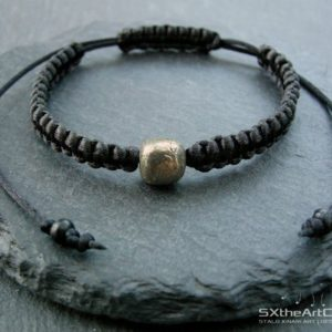Shop Macrame Jewelry! Pyrite men's bracelet, emf protection stone, stacking wristband, fool's gold unisex braided cuff, men jewelry, yoga gift for him, her | Natural genuine Gemstone jewelry. Buy crystal jewelry, handmade handcrafted artisan jewelry for women.  Unique handmade gift ideas. #jewelry #beadedjewelry #beadedjewelry #gift #shopping #handmadejewelry #fashion #style #product #jewelry #affiliate #ad