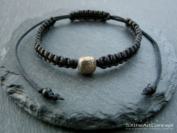 Pyrite Men's Bracelet, Emf Protection Stone, Stacking Wristband, Fool's Gold Unisex Braided Cuff, Men Jewelry, Yoga Gift For Him, Her