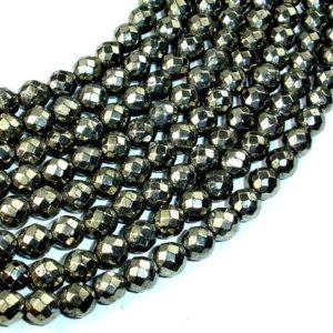 Shop Pyrite Faceted Beads! Pyrite Beads, Faceted Round, 6mm, 15.5 Inch, Full strand, Approx 64 beads, Hole 0.8 mm (361025002) | Natural genuine faceted Pyrite beads for beading and jewelry making.  #jewelry #beads #beadedjewelry #diyjewelry #jewelrymaking #beadstore #beading #affiliate #ad