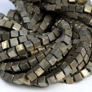 "Shop Pyrite Bead Shapes! 6x6MM Copper Pyrite Beads Cube Grade AAA Natural Gemstone Half Strand Loose Beads 7.5"" BULK LOT 1,3,5,10 and 50 (104531h-1232) 