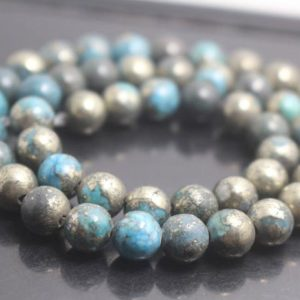 Shop Pyrite Round Beads! Blue Iron Pyrite Smooth Round Beads,6mm/8mm/10mm/12mm Beads Supply,15 inches one starand | Natural genuine round Pyrite beads for beading and jewelry making.  #jewelry #beads #beadedjewelry #diyjewelry #jewelrymaking #beadstore #beading #affiliate