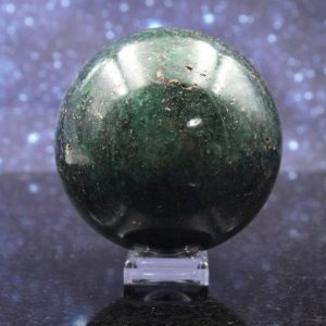 Shop Pyrite Shapes! Harmonious Polished Chrome Green Fuchsite Quartz Sphere from Madagascar | Pyrite Inclusions | Crystal Mineral Ball | 44.7mm | 326 grams | Natural genuine stones & crystals in various shapes & sizes. Buy raw cut, tumbled, or polished gemstones for making jewelry or crystal healing energy vibration raising reiki stones. #crystals #gemstones #crystalhealing #crystalsandgemstones #energyhealing #affiliate #ad