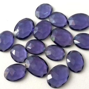 Shop Quartz Crystal Cabochons! 5 Pcs Iolite Color Hydro Quartz, Rose Cut Hydro, Flat Back Cabochons, Loose Rose Cut Gemstones, 16-20mm – KS41 | Natural genuine gemstones & crystals in various shapes & sizes. Buy raw cut, tumbled, or polished for making jewelry or crystal healing energy reiki stones. #crystals #gemstones #crystalhealing #crystalsandgemstones #energyhealing #affiliate