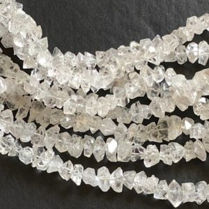 Shop Quartz Chip & Nugget Beads! White 8 Inch Herkimer Diamond Quartz Beads, 9-12mm Natural Center Drilled Clear Raw Herkimer Diamond Quartz Nuggets – ADG125 | Natural genuine chip Quartz beads for beading and jewelry making.  #jewelry #beads #beadedjewelry #diyjewelry #jewelrymaking #beadstore #beading #affiliate #ad