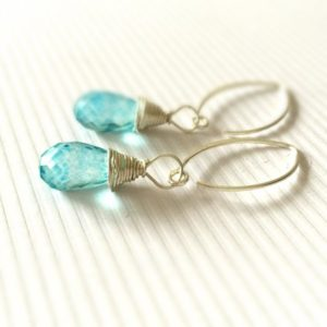 Shop Quartz Crystal Earrings! Blue Earrings – Quartz Gemstone Jewelry – Sterling Silver Jewellery – Luxe – Chic | Natural genuine Quartz earrings. Buy crystal jewelry, handmade handcrafted artisan jewelry for women.  Unique handmade gift ideas. #jewelry #beadedearrings #beadedjewelry #gift #shopping #handmadejewelry #fashion #style #product #earrings #affiliate #ad