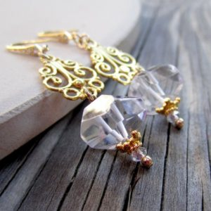 Crystal Quartz Earrings – Wedding Jewelry – Yellow Gold Jewellery – Gemstone – Luxe ER-36 | Natural genuine Gemstone earrings. Buy handcrafted artisan wedding jewelry.  Unique handmade bridal jewelry gift ideas. #jewelry #beadedearrings #gift #crystaljewelry #shopping #handmadejewelry #wedding #bridal #earrings #affiliate #ad