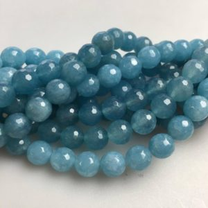 Shop Quartz Crystal Faceted Beads! Faceted Blue Sponge Quartz Gemstone Round Loose Beads Size 4/6/8/10/12mm Approx 15.5'' Long per Strand. D-F-ANG-383 | Natural genuine gemstone beads for making jewelry in various shapes & sizes. Buy crystal beads raw cut or polished for making handmade homemade handcrafted jewelry. #jewelry #beads #beadedjewelry #product #diy #diyjewelry #shopping #craft #product