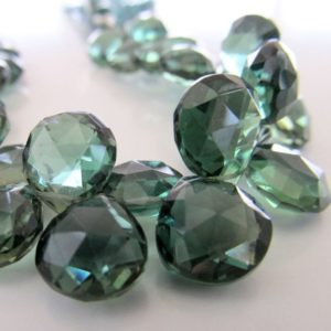 Shop Quartz Crystal Bead Shapes! Quartz Beads 11mm Kelly Green Faceted Crystal Quartz Heart Teardrops – 4 inch Strand | Natural genuine other-shape Quartz beads for beading and jewelry making.  #jewelry #beads #beadedjewelry #diyjewelry #jewelrymaking #beadstore #beading #affiliate #ad