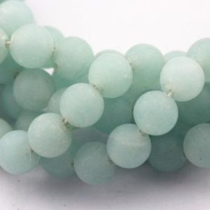 "Shop Quartz Crystal Round Beads! 2.0mm Hole Aqua Color Quartz Matte Round Beads 6mm 8mm 10mm 15.5"" Strand 