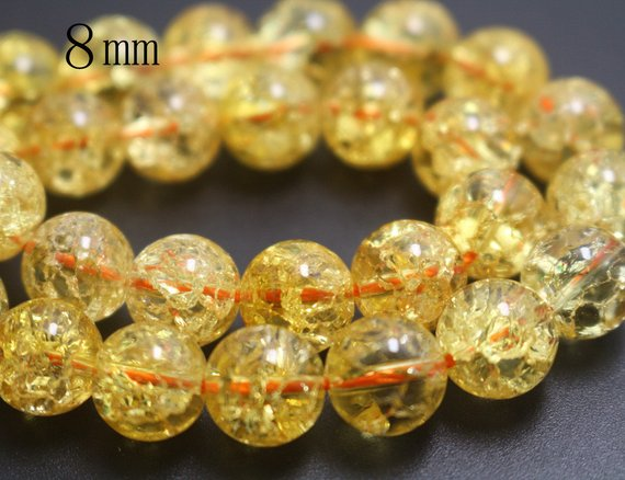 8mm Natural Orange Snow Rock Crystal Quartz Beads,smooth And Round Stone Beads,15 Inches One Starand