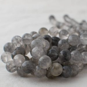 "Shop Quartz Crystal Round Beads! High Quality Grade A Natural Grey Quartz Semi-precious Gemstone Round Beads – 4mm, 6mm, 8mm, 10mm sizes – Approx 16"" strand 